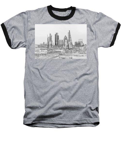 City Of London Outline Poster Bw Baseball T-Shirt