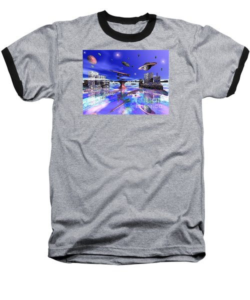 Baseball T-Shirt featuring the digital art City Of New Horizions by Jacqueline Lloyd