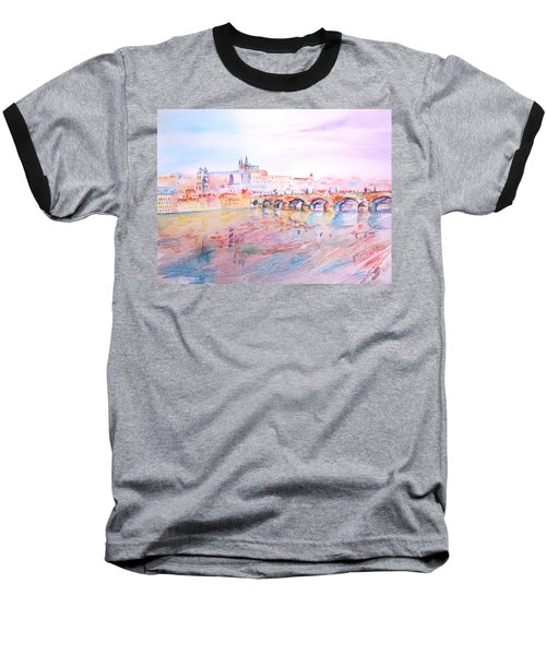 Baseball T-Shirt featuring the painting City Of Prague by Elizabeth Lock