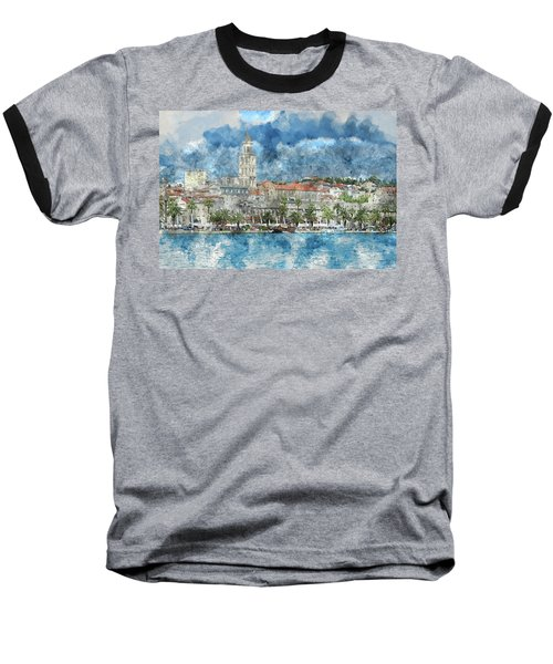 City Of Split In Croatia With Birds Flying In The Sky Baseball T-Shirt
