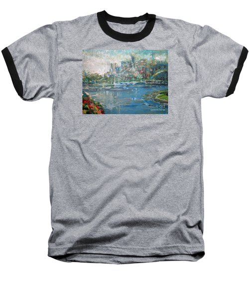 City On The Bay Baseball T-Shirt by John Fish