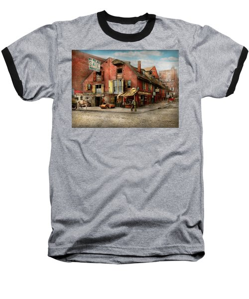 Baseball T-Shirt featuring the photograph City - Pa - Fish And Provisions 1898 by Mike Savad