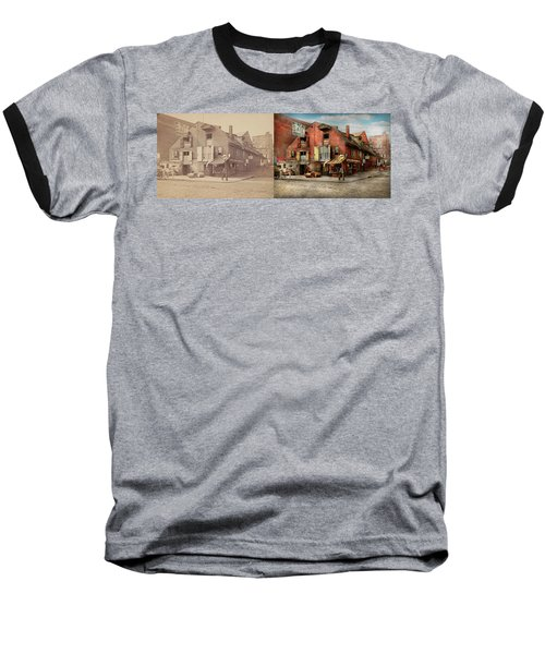 Baseball T-Shirt featuring the photograph City - Pa - Fish And Provisions 1898 - Side By Side by Mike Savad