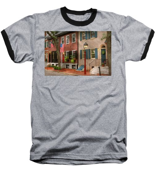 Baseball T-Shirt featuring the photograph City - Pa Philadelphia - American Townhouse by Mike Savad