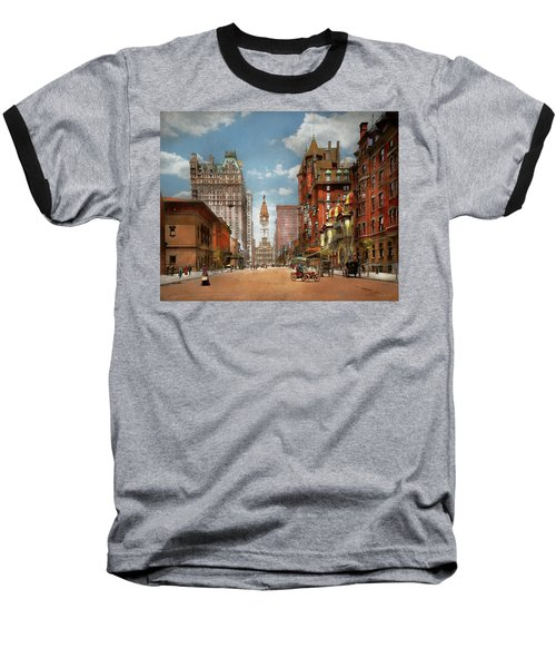 Baseball T-Shirt featuring the photograph City - Pa Philadelphia - Broad Street 1905 by Mike Savad