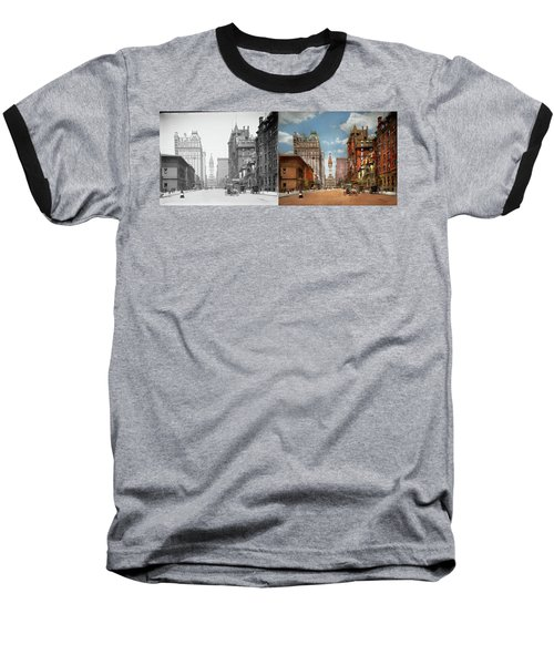 Baseball T-Shirt featuring the photograph City - Pa Philadelphia - Broad Street 1905 - Side By Side by Mike Savad