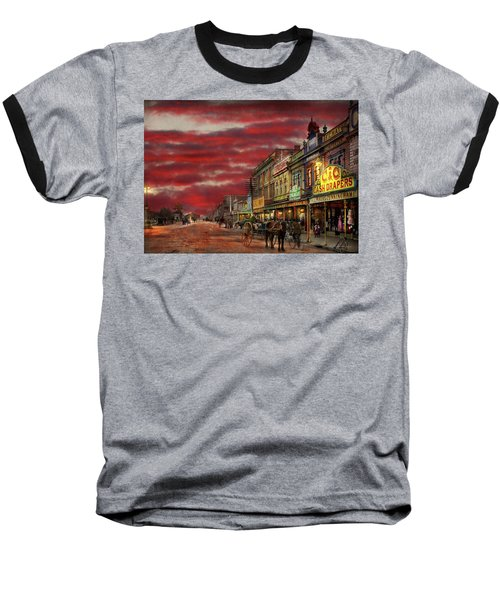 Baseball T-Shirt featuring the photograph City - Palmerston North Nz - The Shopping District 1908 by Mike Savad