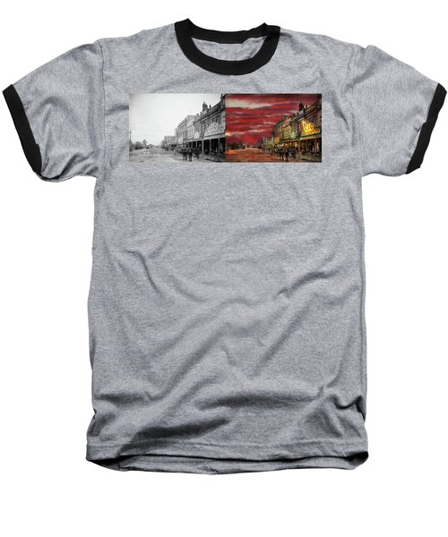 Baseball T-Shirt featuring the photograph City - Palmerston North Nz - The Shopping District 1908 - Side By Side by Mike Savad