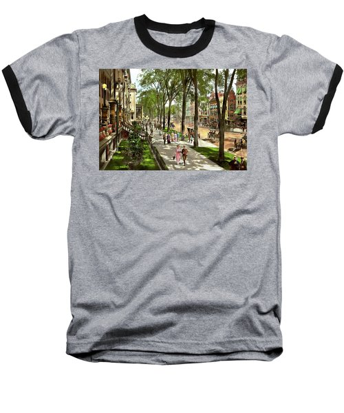 Baseball T-Shirt featuring the photograph City - Saratoga Ny -  I Would Love To Be On Broadway 1915 by Mike Savad