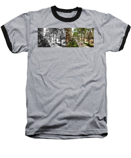 Baseball T-Shirt featuring the photograph City - Saratoga Ny -  I Would Love To Be On Broadway 1915 - Side By Side by Mike Savad