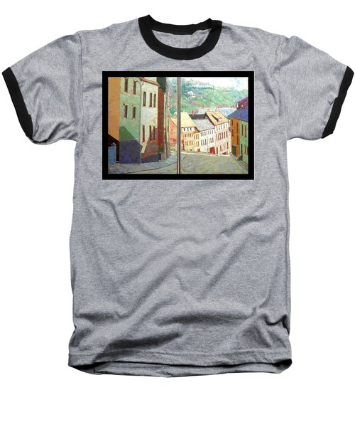 Baseball T-Shirt featuring the painting City Scape-dyptich by Walter Casaravilla