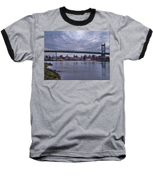 City Scape From Astoria Park Baseball T-Shirt by Mikki Cucuzzo