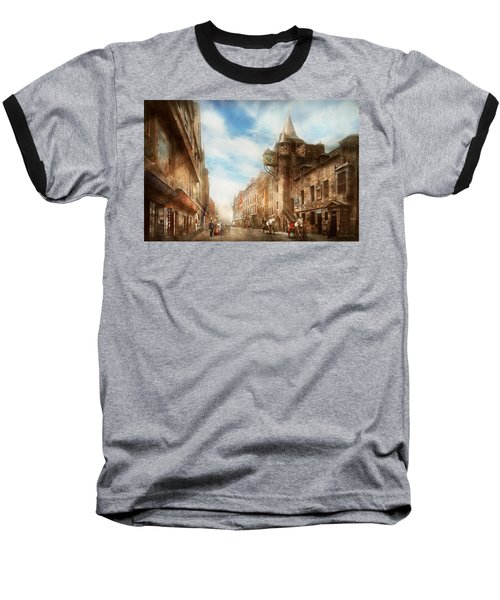 Baseball T-Shirt featuring the photograph City - Scotland - Tolbooth Operator 1865 by Mike Savad