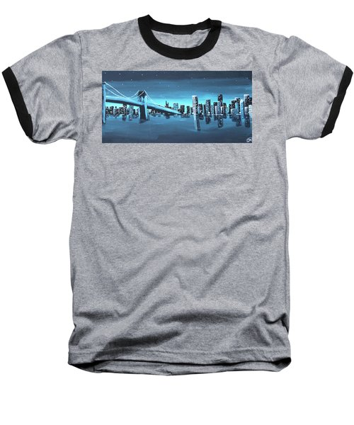 City Skyline Baseball T-Shirt by Cyrionna The Cyerial Artist