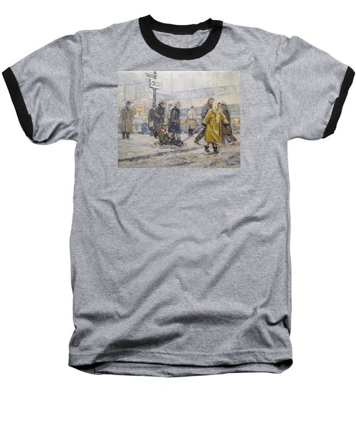 Baseball T-Shirt featuring the painting City Snow Ride by Donna Tucker