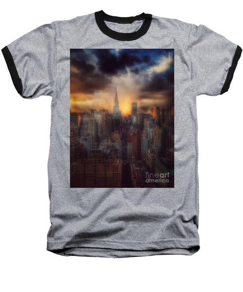 City Splendor - Sunset In New York Baseball T-Shirt by Miriam Danar