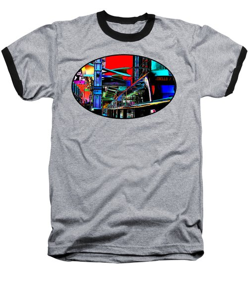 City Tansit Pop Art Baseball T-Shirt by Phyllis Denton