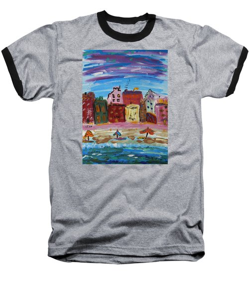 City With A Pink Boardwalk Baseball T-Shirt by Mary Carol Williams