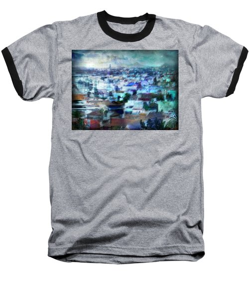 Cityscape #41 - Blue Whispers Baseball T-Shirt by Alfredo Gonzalez