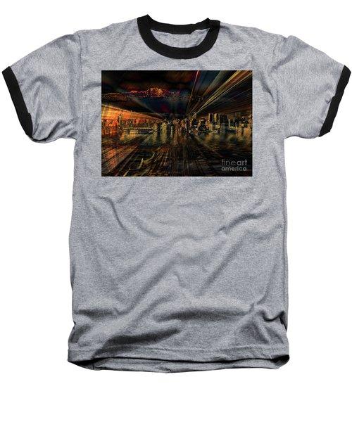 Cityscape Baseball T-Shirt by Elaine Hunter