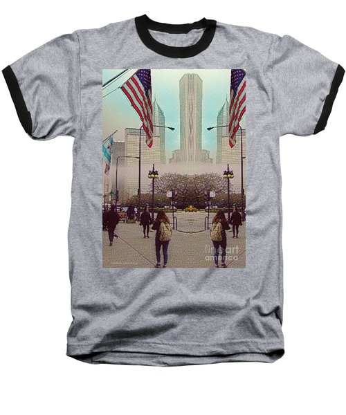 Cityscape With A Bit Of Fog Baseball T-Shirt by Kathie Chicoine
