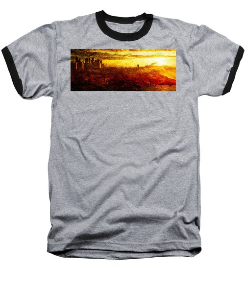 Cityscape Sunset Baseball T-Shirt by Andrea Barbieri