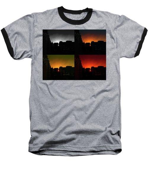 Cityscape Sunset Baseball T-Shirt