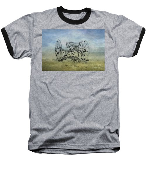 Civil War Cannon Sketch  Baseball T-Shirt by Randy Steele