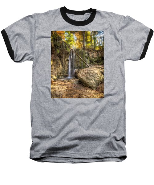 Baseball T-Shirt featuring the photograph Clark Creek Nature Area Waterfall No. 1 by Andy Crawford