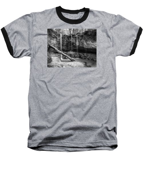 Baseball T-Shirt featuring the photograph Clark Creek Nature Area Waterfall No. 2 In Black And White by Andy Crawford