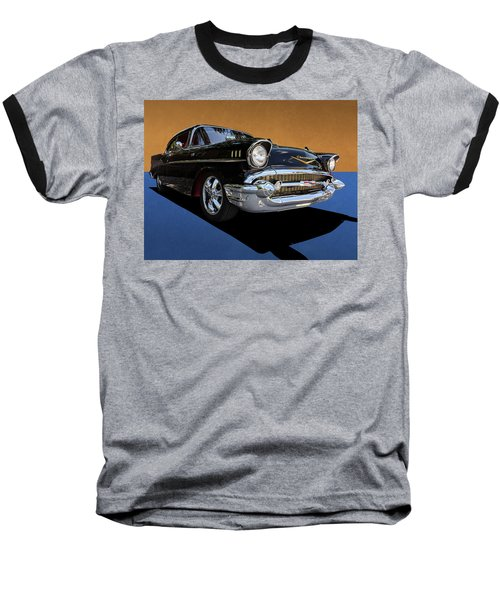 Classic Black Chevy Bel Air With Gold Trim Baseball T-Shirt