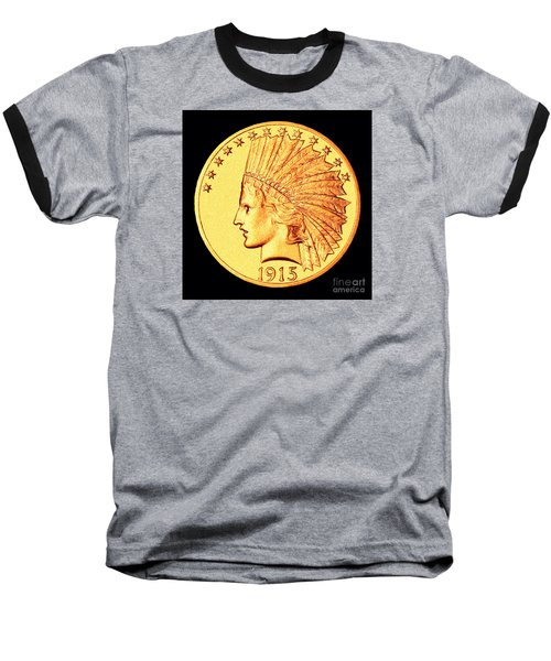 Classic Indian Head Gold Baseball T-Shirt by Jim Carrell