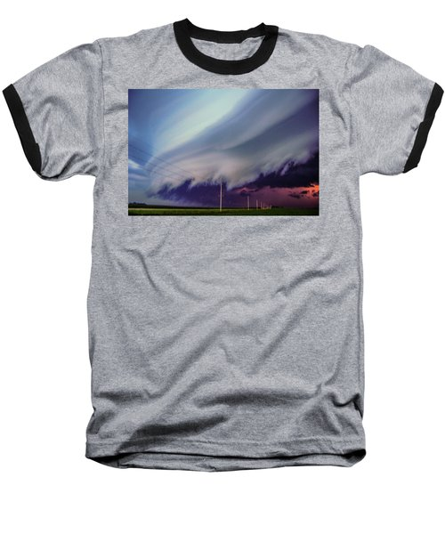 Classic Nebraska Shelf Cloud 028 Baseball T-Shirt