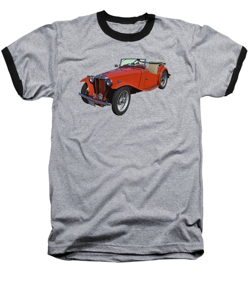 Classic Red Mg Tc Convertible British Sports Car Baseball T-Shirt