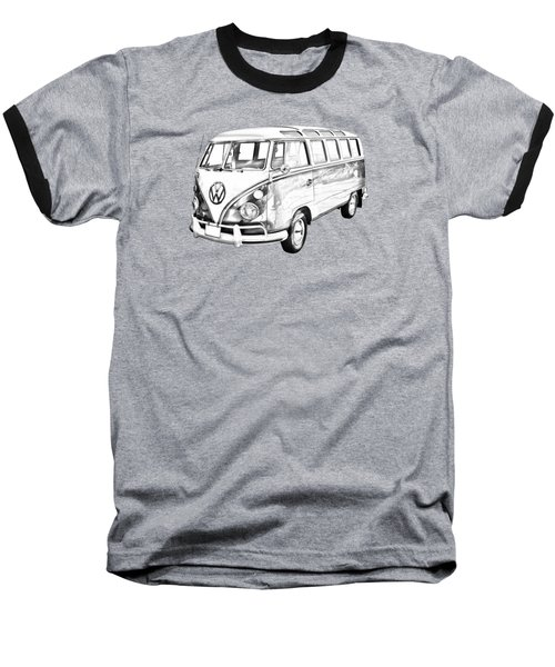 Classic Vw 21 Window Mini Bus Illustration Baseball T-Shirt