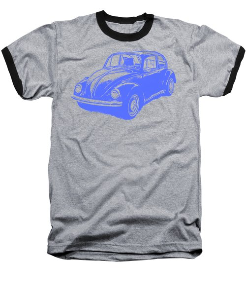 Classic Vw Beetle Tee Blue Ink Baseball T-Shirt by Edward Fielding