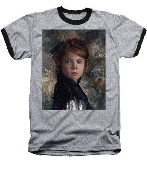 Baseball T-Shirt featuring the painting Classical Portrait Of Young Girl In Victorian Dress by Karen Whitworth