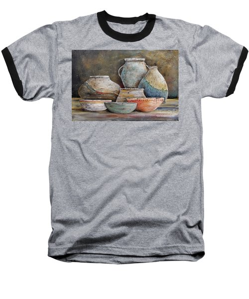 Baseball T-Shirt featuring the painting Clay Pottery Still Lifes-a by Jean Plout