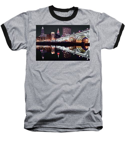 Baseball T-Shirt featuring the photograph Cle In Selective Color by Frozen in Time Fine Art Photography