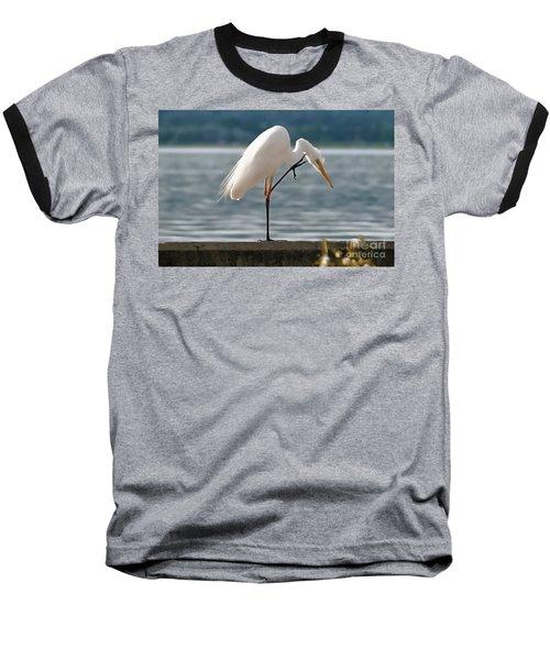 Cleaning White Egret Baseball T-Shirt