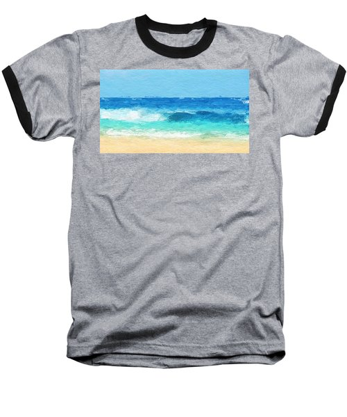 Clear Blue Waves Baseball T-Shirt by Anthony Fishburne