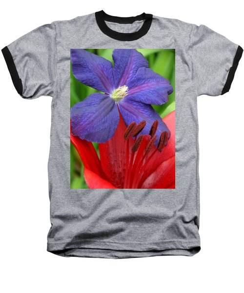 Clematis And Lily Baseball T-Shirt by Rebecca Overton