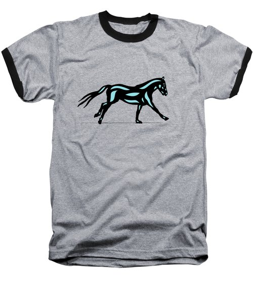 Clementine - Pop Art Horse - Black, Island Paradise Blue, Primrose Yellow Baseball T-Shirt