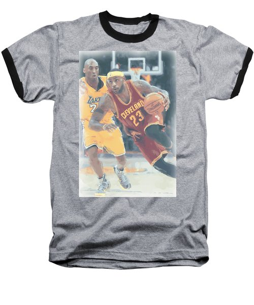 Cleveland Cavaliers Lebron James 3 Baseball T-Shirt by Joe Hamilton