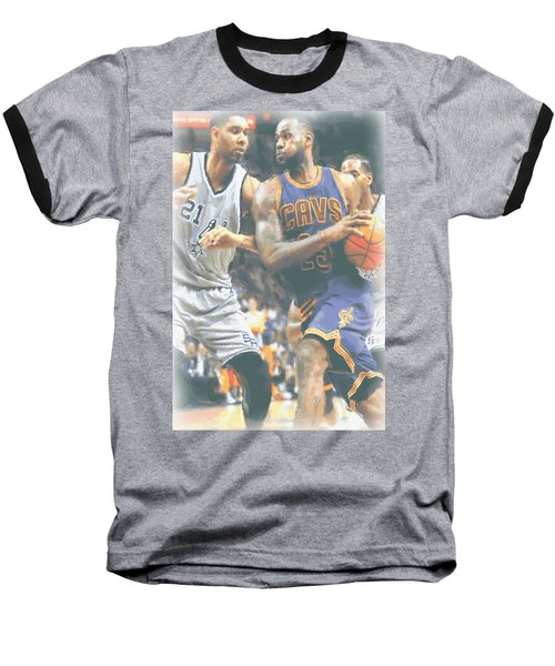 Cleveland Cavaliers Lebron James 4 Baseball T-Shirt by Joe Hamilton
