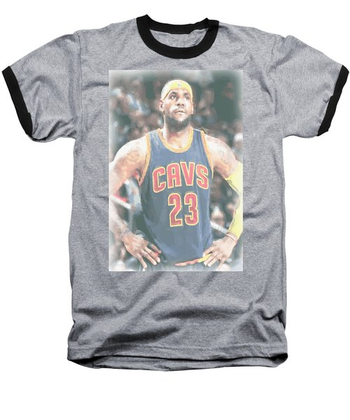 Cleveland Cavaliers Lebron James 5 Baseball T-Shirt by Joe Hamilton