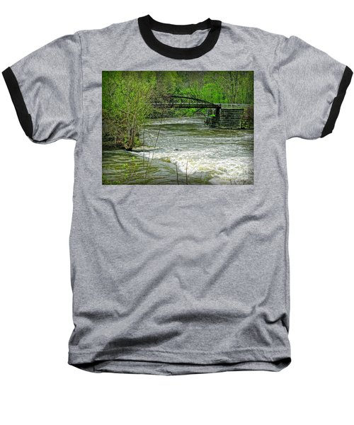 Cleveland Metropark Bridge Baseball T-Shirt by Joan  Minchak