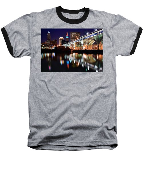 Cleveland Ohio Skyline Baseball T-Shirt by Frozen in Time Fine Art Photography