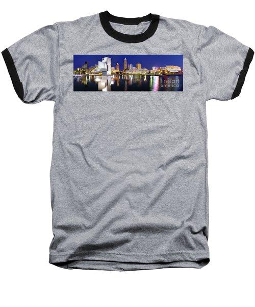 Cleveland Skyline At Dusk Baseball T-Shirt