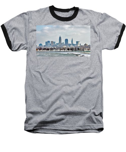 Cleveland Skyline In Winter Baseball T-Shirt by Bruce Patrick Smith